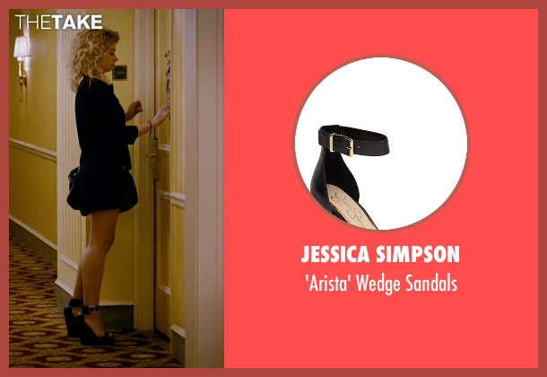 Jessica Simpson black sandals from She's Funny That Way seen with Imogen Poots (Isabella Patterson)