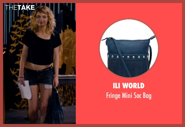 Ili World blue bag from She's Funny That Way seen with Imogen Poots (Isabella Patterson)