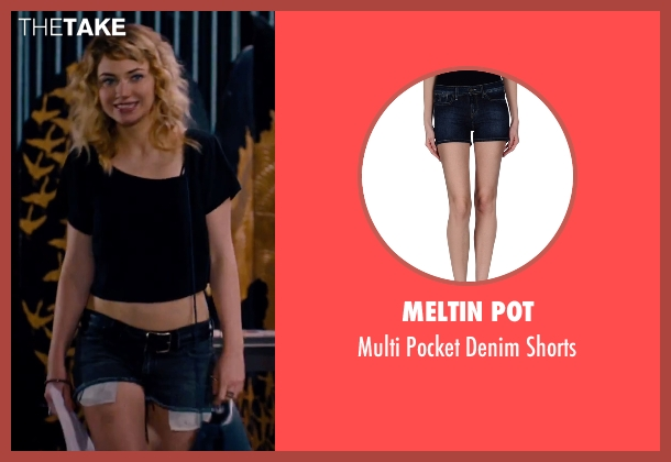 Meltin Pot blue shorts from She's Funny That Way seen with Imogen Poots (Isabella Patterson)