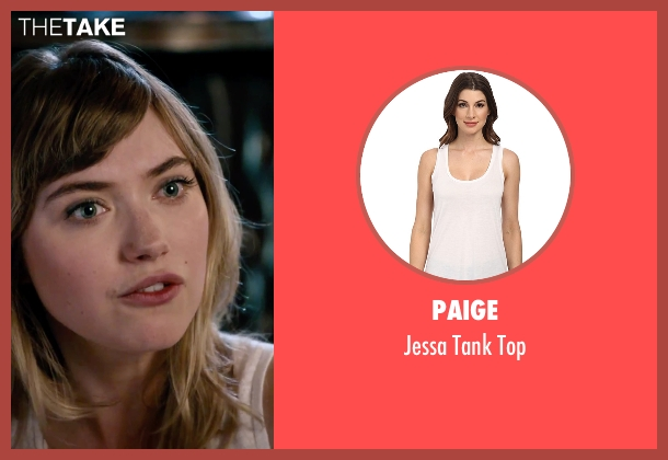 Paige white top from She's Funny That Way seen with Imogen Poots (Isabella Patterson)