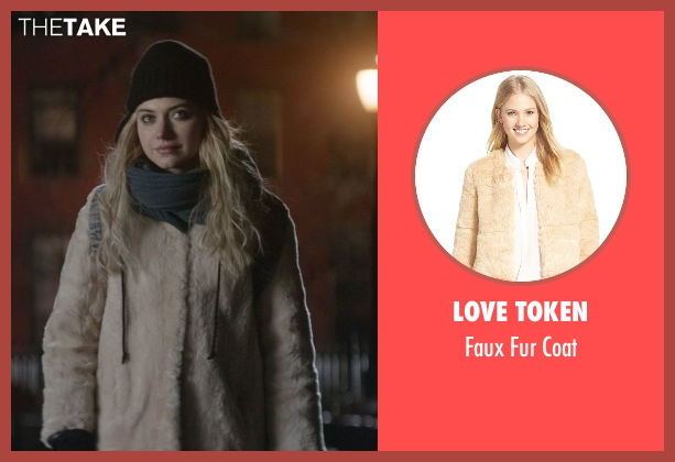 Love Token beige faux fur coat from That Awkward Moment seen with Imogen Poots (Ellie)