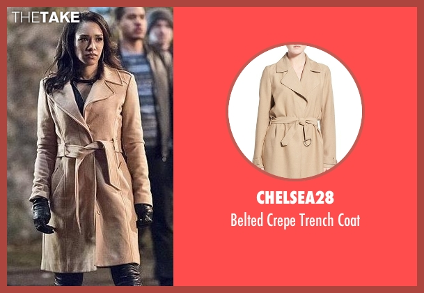 Chelsea28 beige coat from The Flash seen with Iris West / Iris West-Allen (Candice Patton)