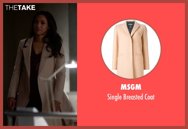 MSGM beige coat from The Flash seen with Iris West / Iris West-Allen (Candice Patton)
