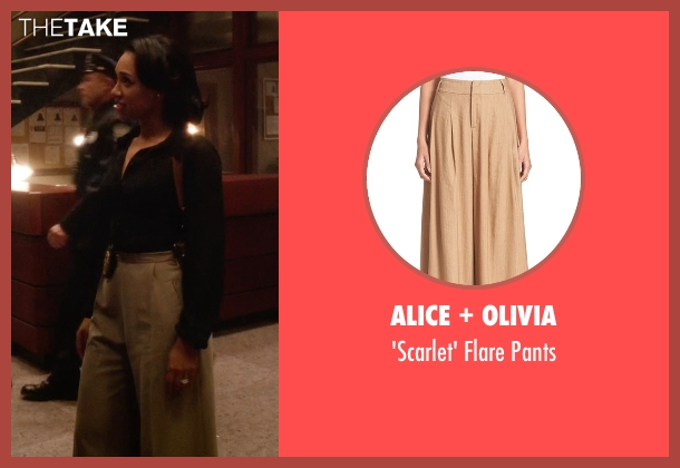 Alice + Olivia beige pants from The Flash seen with Iris West / Iris West-Allen (Candice Patton)