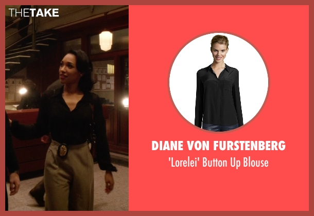 Diane Von Furstenberg black blouse from The Flash seen with Iris West / Iris West-Allen (Candice Patton)