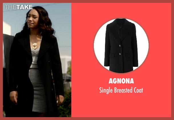 Agnona black coat from The Flash seen with Iris West / Iris West-Allen (Candice Patton)