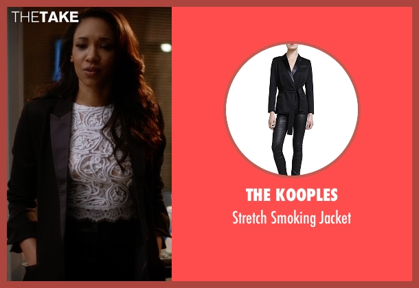 The Kooples black jacket from The Flash seen with Iris West / Iris West-Allen (Candice Patton)
