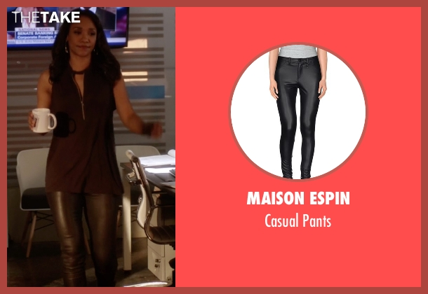 Maison Espin black pants from The Flash seen with Iris West / Iris West-Allen (Candice Patton)