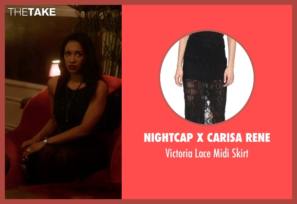 Nightcap X Carisa Rene black skirt from The Flash seen with Iris West / Iris West-Allen (Candice Patton)