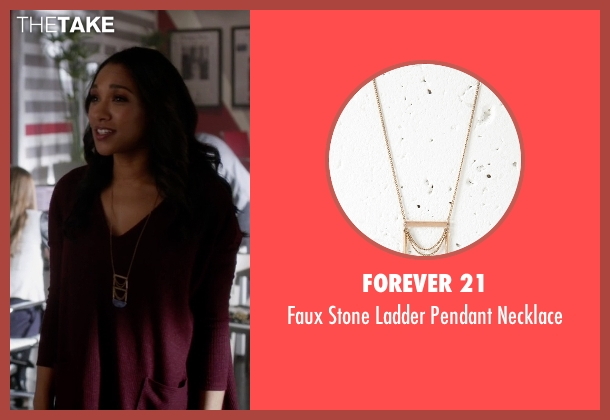 Forever 21 blue necklace from The Flash seen with Iris West / Iris West-Allen (Candice Patton)