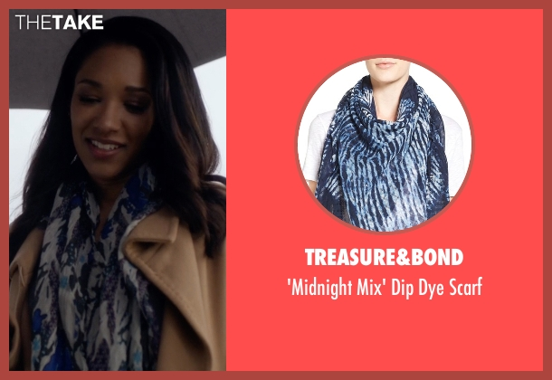 Treasure&Bond blue scarf from The Flash seen with Iris West / Iris West-Allen (Candice Patton)