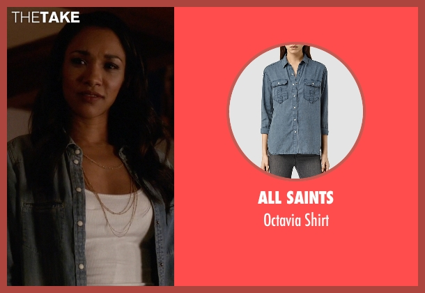 All Saints blue shirt from The Flash seen with Iris West / Iris West-Allen (Candice Patton)