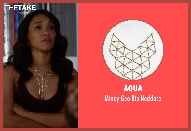 Aqua gold necklace from The Flash seen with Iris West / Iris West-Allen (Candice Patton)
