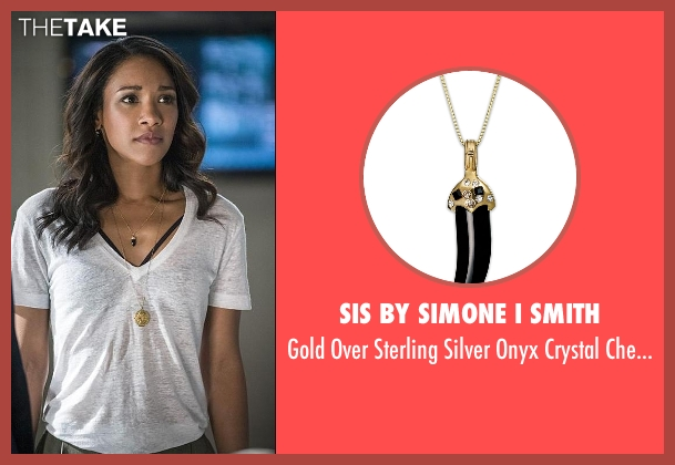 Sis By Simone I Smith gold pendant from The Flash seen with Iris West / Iris West-Allen (Candice Patton)