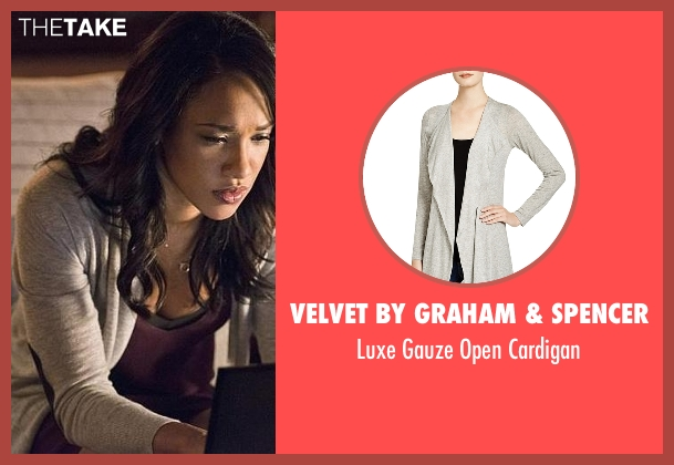 Velvet by Graham & Spencer gray cardigan from The Flash seen with Iris West / Iris West-Allen (Candice Patton)