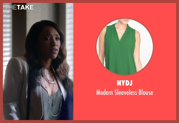 NYDJ green blouse from The Flash seen with Iris West / Iris West-Allen (Candice Patton)