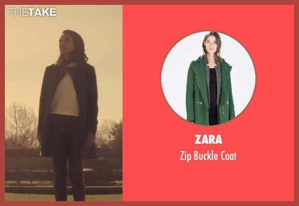 Zara green coat from The Flash seen with Iris West / Iris West-Allen (Candice Patton)