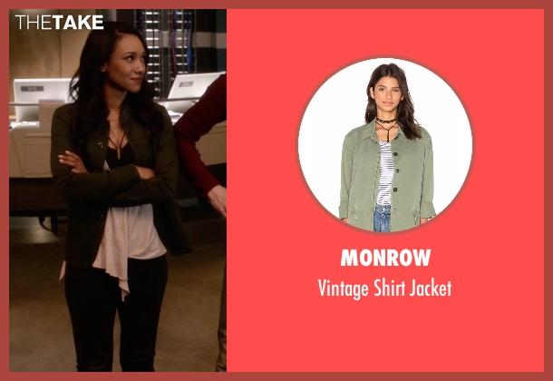 Monrow green jacket from The Flash seen with Iris West / Iris West-Allen (Candice Patton)