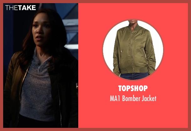 Topshop green jacket from The Flash seen with Iris West / Iris West-Allen (Candice Patton)