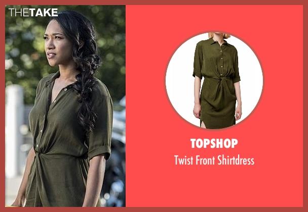 Topshop green shirtdress from The Flash seen with Iris West / Iris West-Allen (Candice Patton)