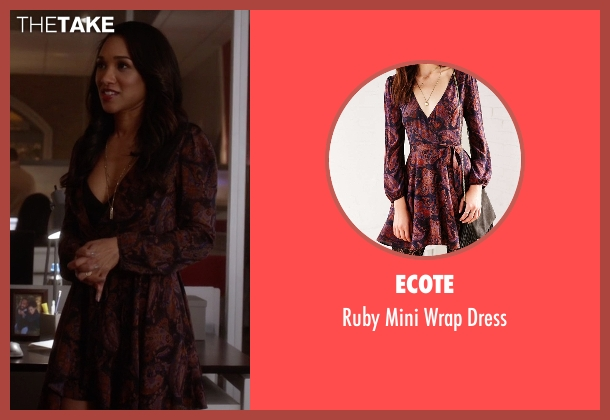 Ecote purple wrap dress from The Flash seen with Iris West / Iris West-Allen (Candice Patton)