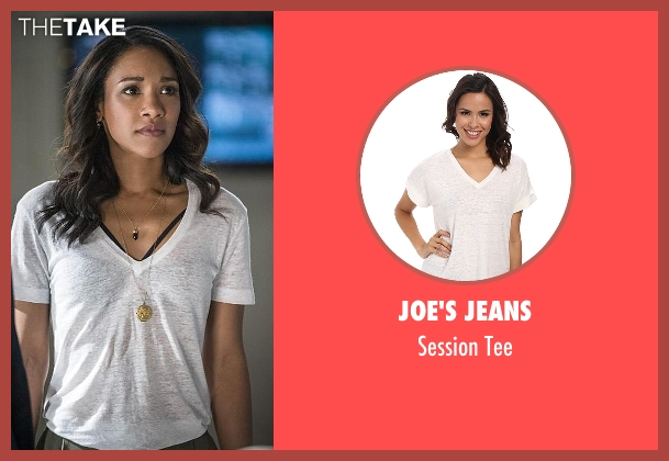 Joe's Jeans white tee from The Flash seen with Iris West / Iris West-Allen (Candice Patton)