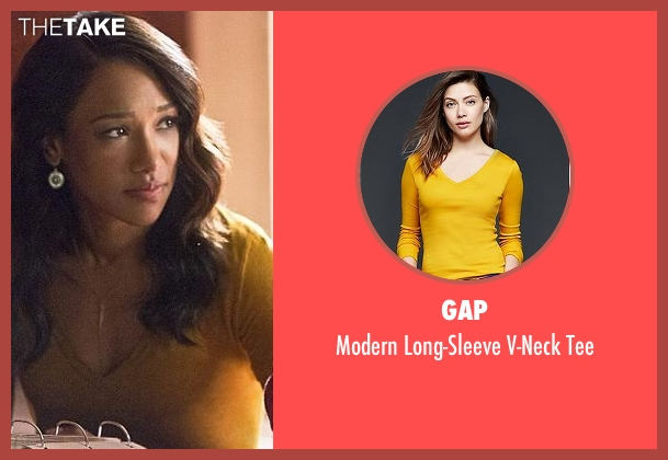 Gap yellow tee from The Flash seen with Iris West / Iris West-Allen (Candice Patton)