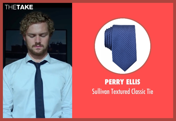Perry Ellis blue tie from Marvel's Iron Fist seen with Iron Fist / Danny Rand (Finn Jones)