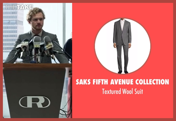 Saks Fifth Avenue Collection gray suit from Marvel's Iron Fist seen with Iron Fist / Danny Rand (Finn Jones)
