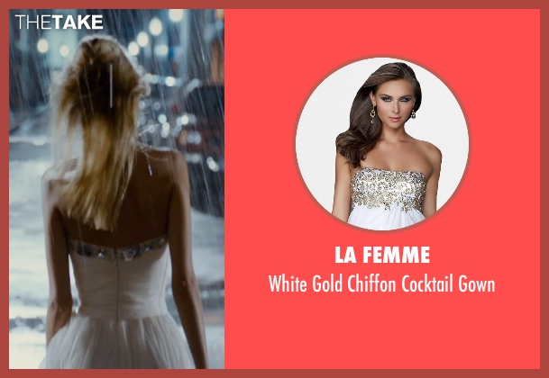 La Femme white gown from The Loft seen with Isabel Lucas (Sarah Deakins)
