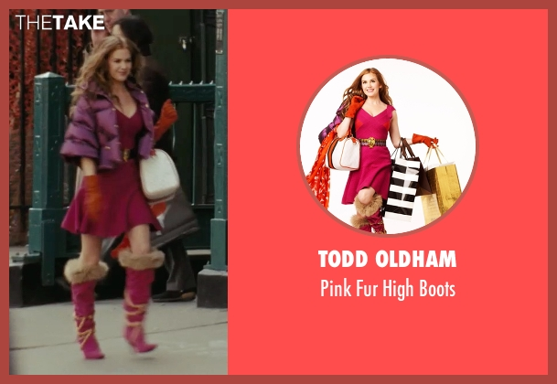Todd Oldham pink boots from Confessions of a Shopaholic seen with Isla Fisher (Rebecca Bloomwood)