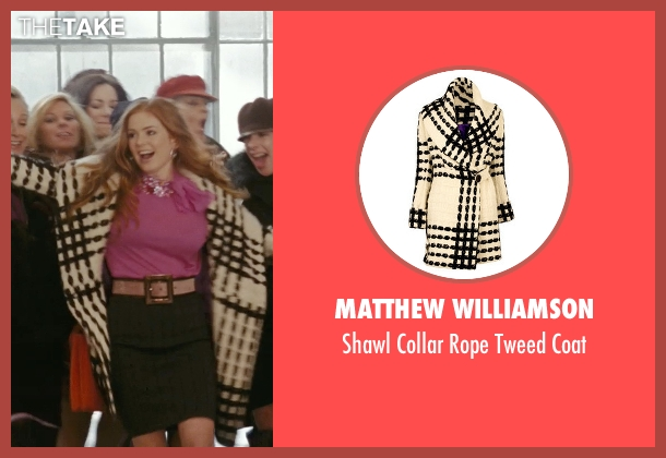 Matthew Williamson white coat from Confessions of a Shopaholic seen with Isla Fisher (Rebecca Bloomwood)