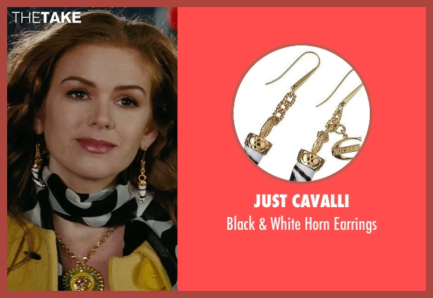 Just Cavalli white earrings from Confessions of a Shopaholic seen with Isla Fisher (Rebecca Bloomwood)
