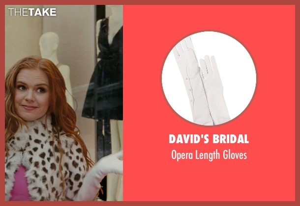 David's Bridal white gloves from Confessions of a Shopaholic seen with Isla Fisher (Rebecca Bloomwood)
