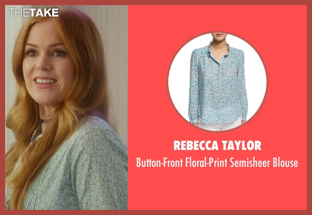 Rebecca Taylor blue blouse from Keeping Up with the Joneses seen with Isla Fisher (Karen Gaffney)