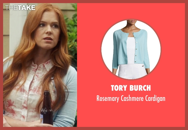 Tory Burch blue cardigan from Keeping Up with the Joneses seen with Isla Fisher (Karen Gaffney)