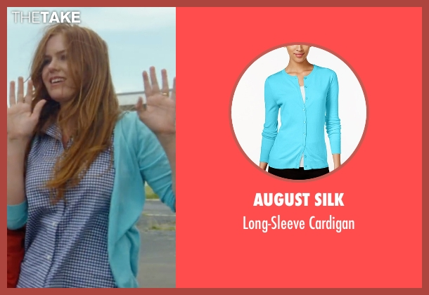 August Silk blue cardigan from Keeping Up with the Joneses seen with Isla Fisher (Karen Gaffney)