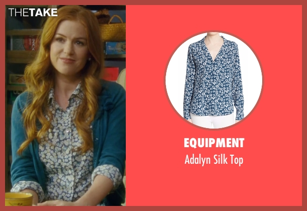 Equipment blue top from Keeping Up with the Joneses seen with Isla Fisher (Karen Gaffney)