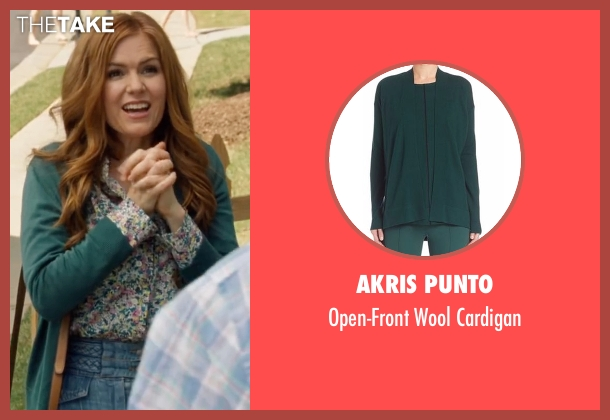 Akris Punto green cardigan from Keeping Up with the Joneses seen with Isla Fisher (Karen Gaffney)