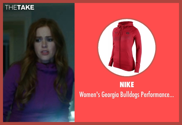 Nike red hoodie from Keeping Up with the Joneses seen with Isla Fisher (Karen Gaffney)