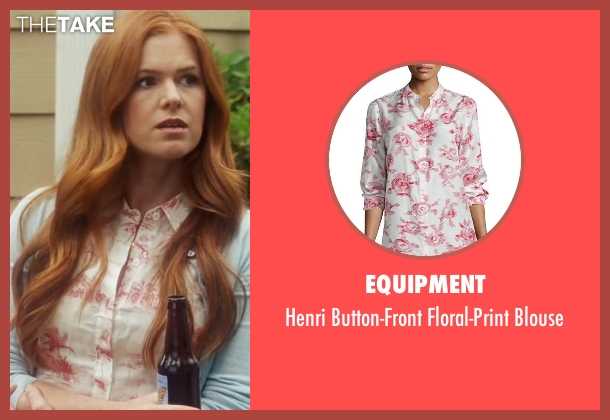 Equipment  white blouse from Keeping Up with the Joneses seen with Isla Fisher (Karen Gaffney)