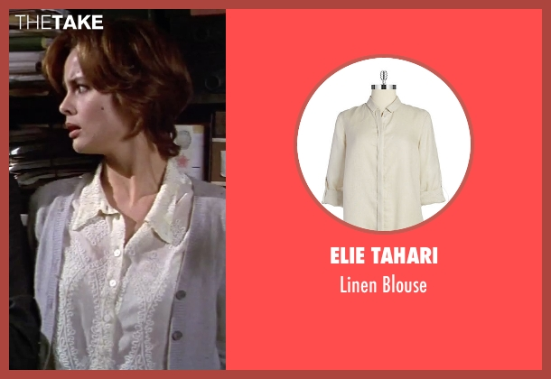Elie Tahari beige blouse from GoldenEye seen with Izabella Scorupco (Natalya Simonova)