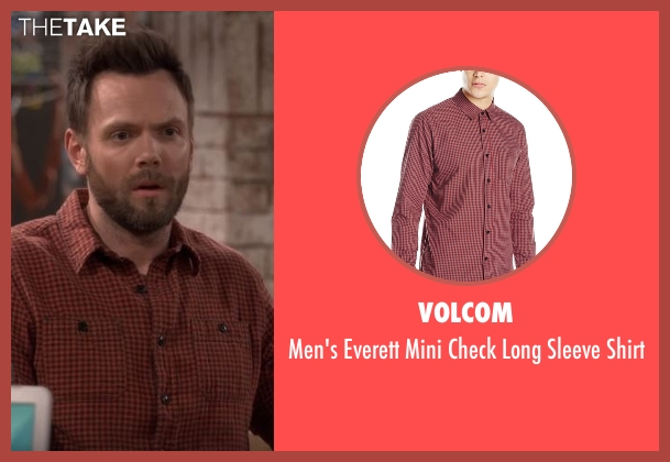 Volcom red shirt from The Great Indoors seen with Jack Gordon (Joel McHale)