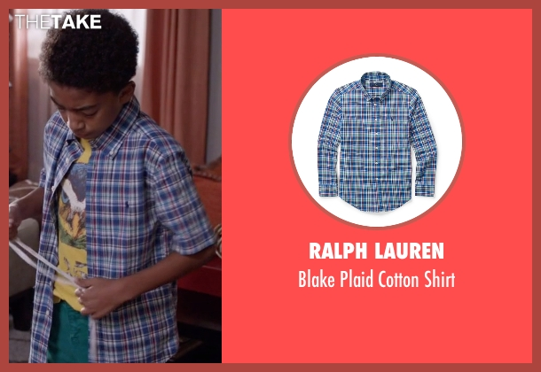 Ralph Lauren blue shirt from Black-ish seen with Jack Johnson (Miles Brown)