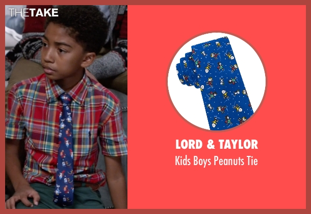 Lord & Taylor blue tie from Black-ish seen with Jack Johnson (Miles Brown)