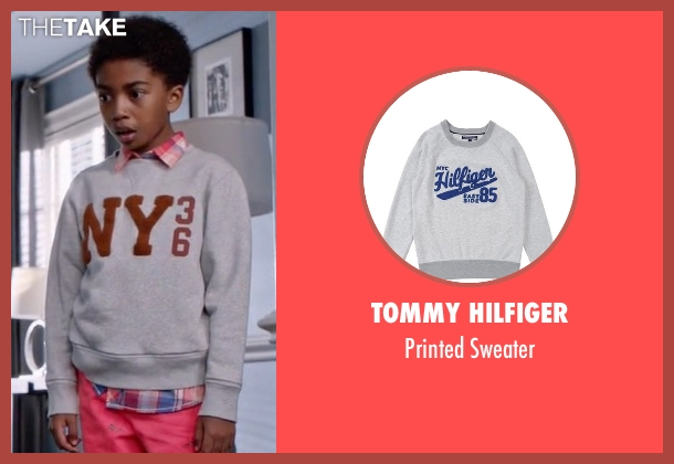 Tommy Hilfiger gray sweater from Black-ish seen with Jack Johnson (Miles Brown)