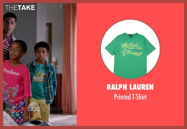 Ralph Lauren green t-shirt from Black-ish seen with Jack Johnson (Miles Brown)