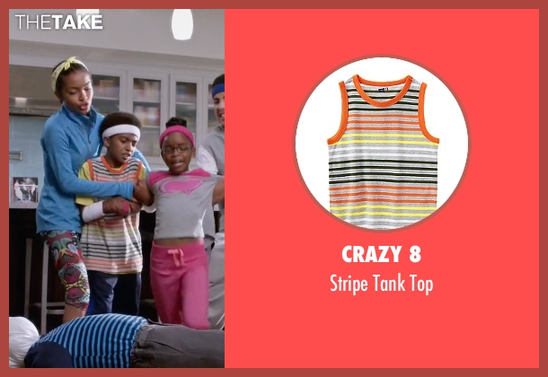 Crazy 8 orange top from Black-ish seen with Jack Johnson (Miles Brown)