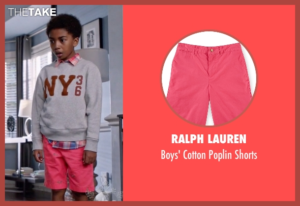 Ralph Lauren pink shorts from Black-ish seen with Jack Johnson (Miles Brown)