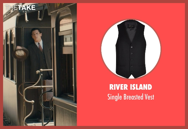 River Island black vest from Unbroken seen with Jack O'Connell (Louis Zamperini)
